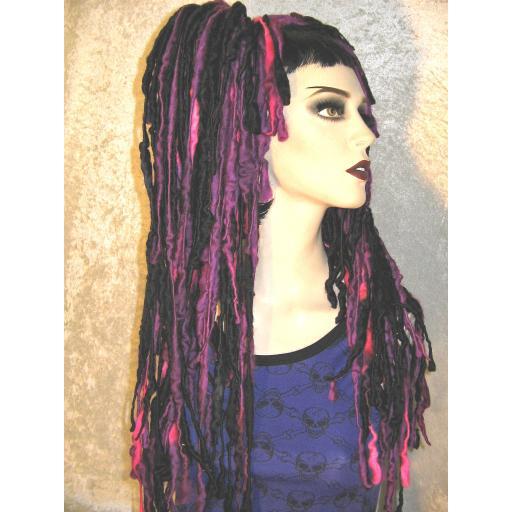 Dread Wool Falls Black and Purp Pink Flecks