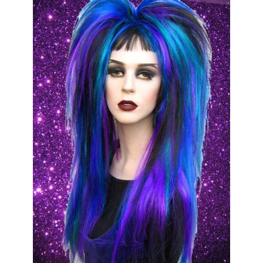 Set of Synthetic Hair Falls in Blue Pet Purp Blk