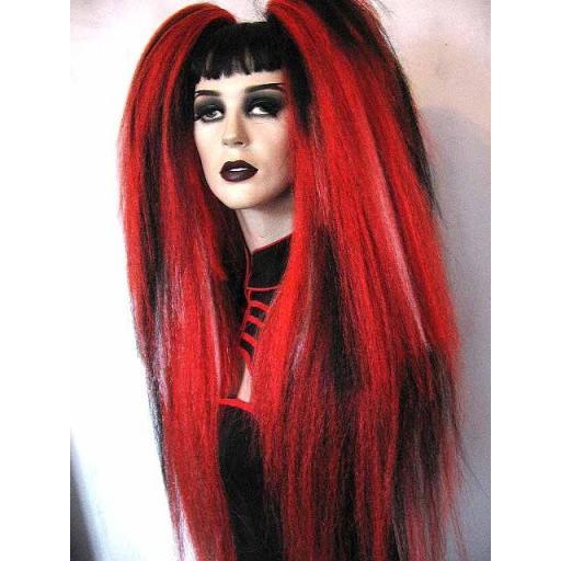Warlock Hair Falls in Red Subtle Blk White