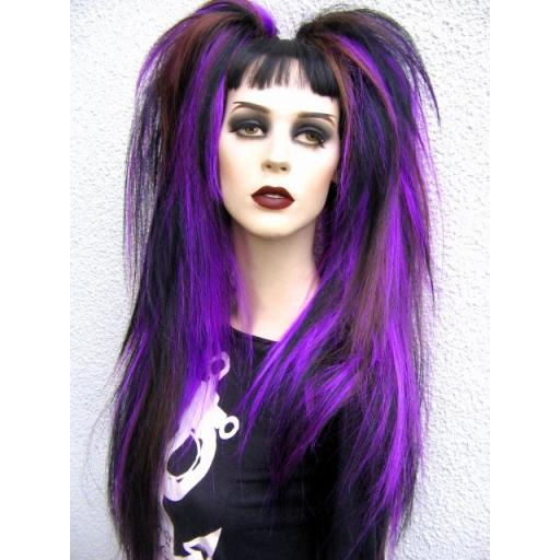 Synthetic Hair Falls in Purple,Black and Brown.
