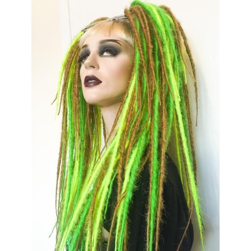 Synthetic Dread Falls Green, Neon Yellow, Blonde