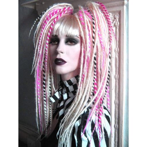 Synthetic Dread Falls in White.Pink/Black Twists