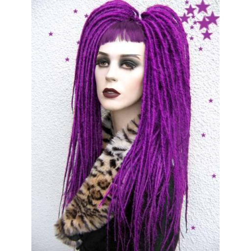 Waist Length Synthetic Dreads in Bright Purple