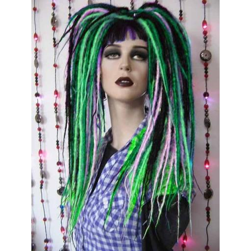 Synthetic Dread Falls in Greens,Turq,Black,White
