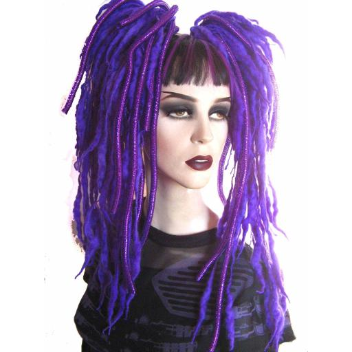 Violet Dread Wool Falls with Metallic Mini Crin