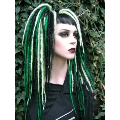 Bust Length Dread Falls in Greens and Black