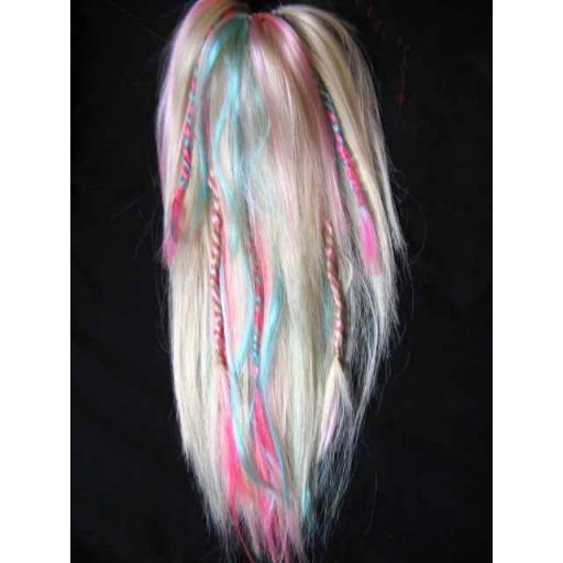 Synthetic hair fall in white, Pink and Turq-braids