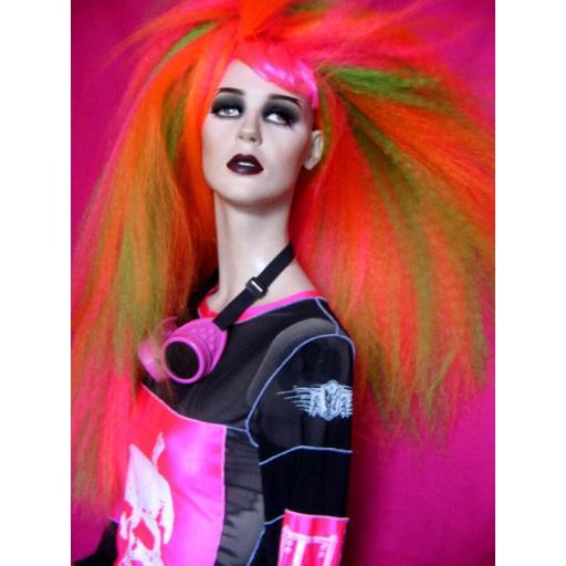 Warlock Hair Falls in UV PIink Green and Orange