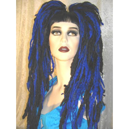 Dread Wool Falls Sapphire Blue and Black