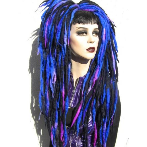 Dread Wool Falls in Blue,Violet and Black