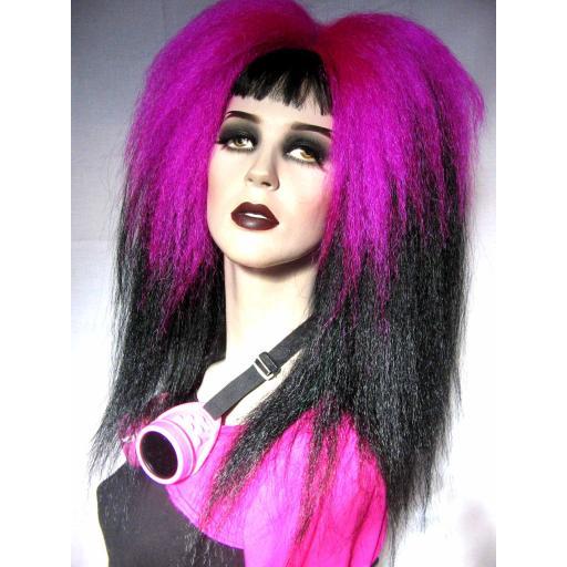 Transition Warlock Hair Falls in Fuchsia to Black