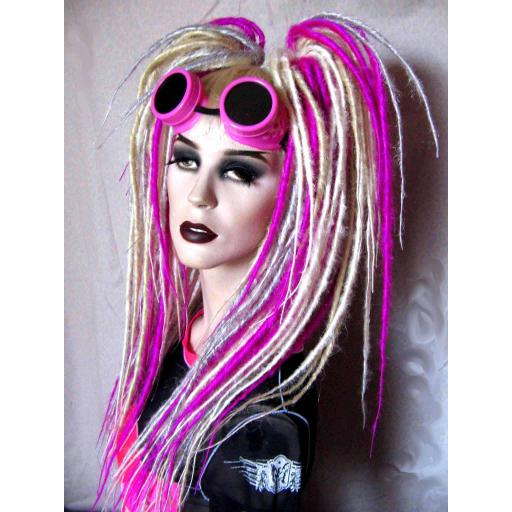 Synthetic Dread Falls In Pink,Silver,Blonde,White