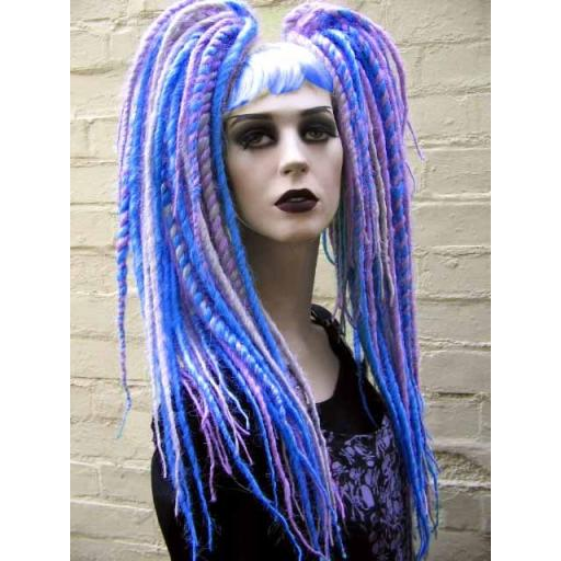 Waist Length Synthetic Dreads.Silver,Sapph,Lilac