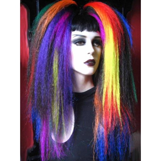 Warlock Hair Falls in Brown with Rainbow Accents