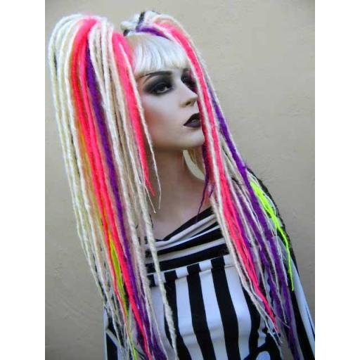 Waist Length Synthetic Dread Falls White and Neons