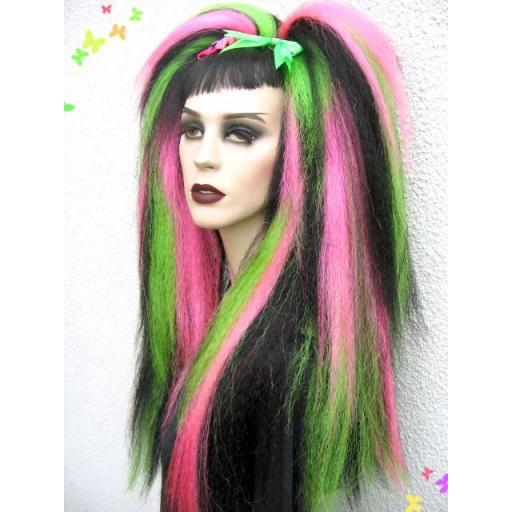 Warlock hair Falls in Green,UV Pink and Black
