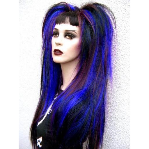 Synthetic Hair Falls in Blue,Black and Brown