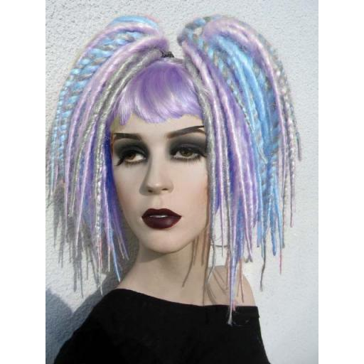 Minilox Synthetic Dreads in Turq,Lilac and Silver