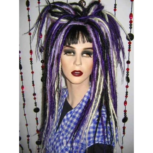 Bust Length Dreads Purp Lilac Blk and White