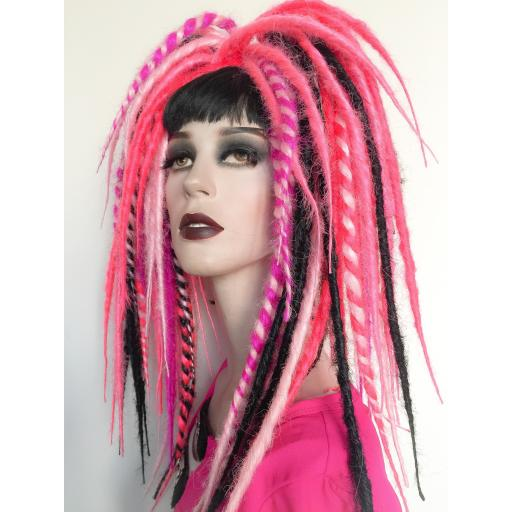 Synthetic Dread Falls Pinks,Black and Twists