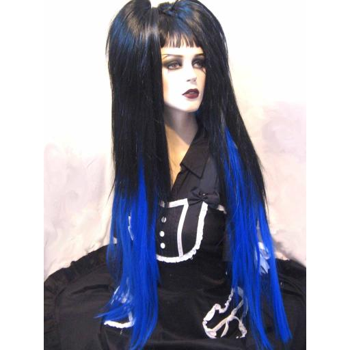 Hip Length Dip Dye Hair Falls Black/Electric Blue