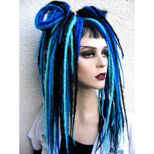 Bust Length Synthetic Dreads in shades of Blue