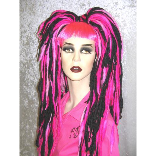 Dread Wool Falls Black and UV Pink